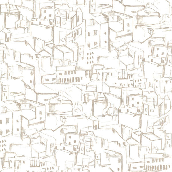 Kasabian White Hillside Village Sketch Wallpaper
