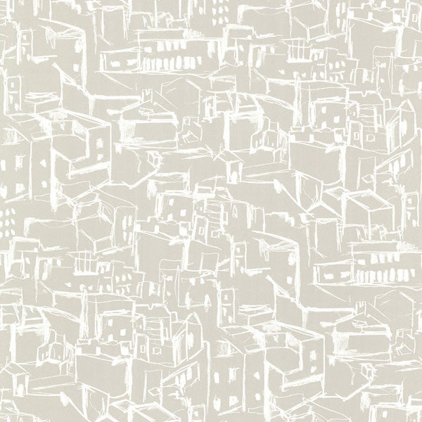 Kasabian Taupe Hillside Village Sketch Wallpaper