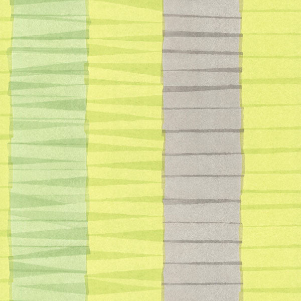 Cala Nova Green Layered Crepe Stripe Wallpaper