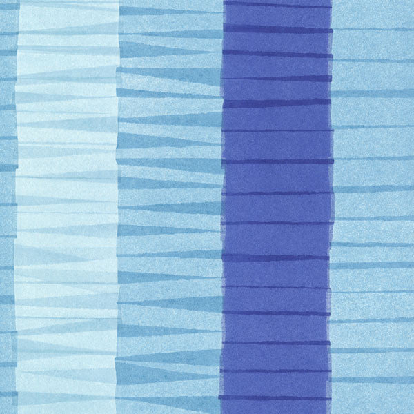 Cala Nova Aqua Layered Crepe Stripe Wallpaper