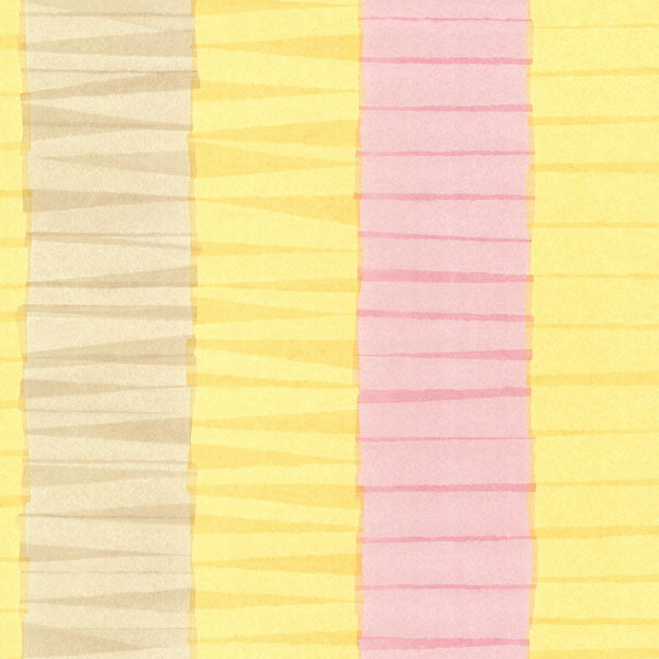 Cala Nova Yellow Layered Crepe Stripe Wallpaper