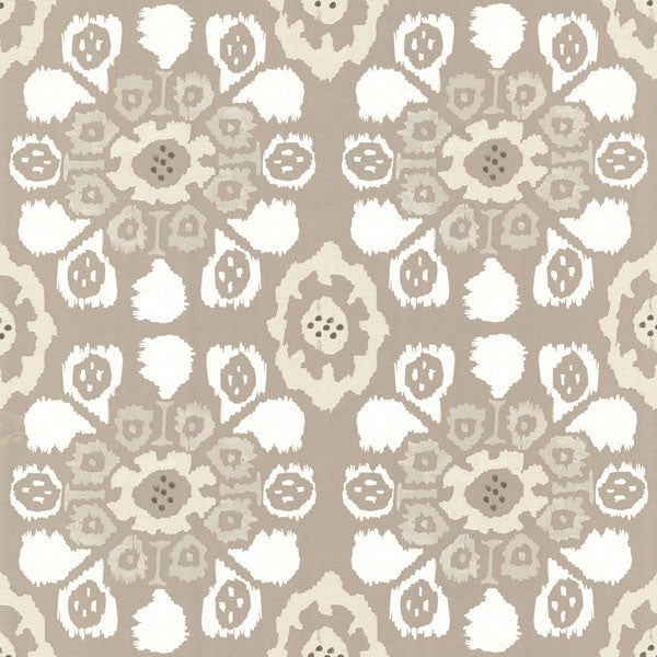Valencia Taupe Ikat Floral Wallpaper