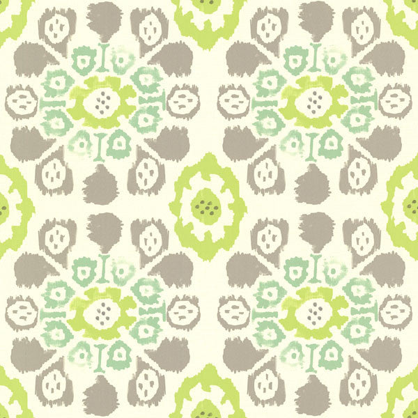 Valencia Green Ikat Floral Wallpaper