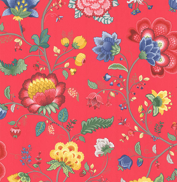Epona Red Floral Fantasy Wallpaper