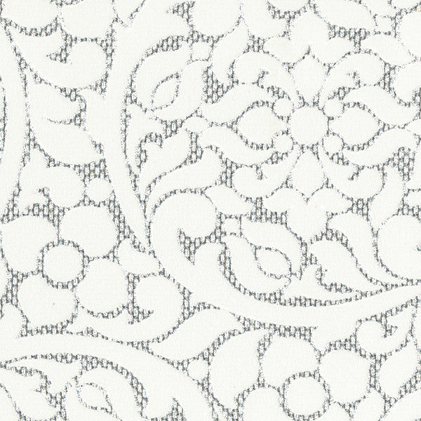 Cascada Silver Flocked Medallion Wallpaper