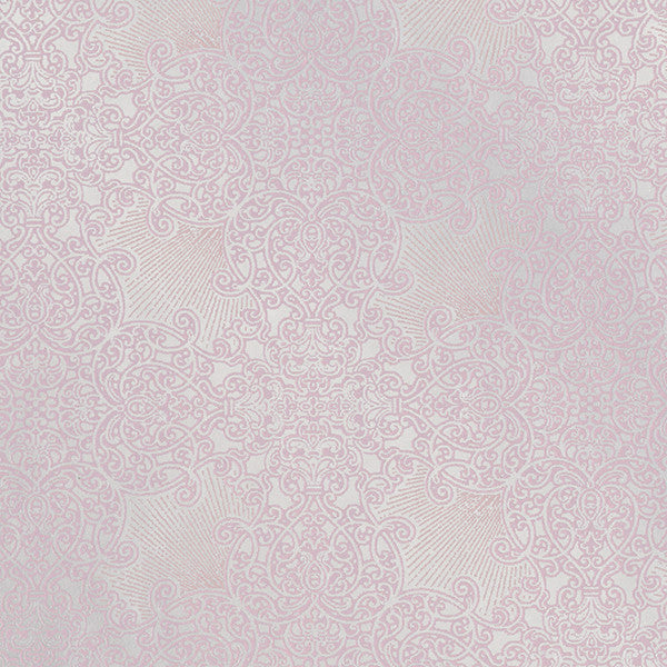 Linkin Pink Scroll Medallion Wallpaper