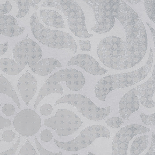Leanne Grey Metallic Dot Medallion Wallpaper
