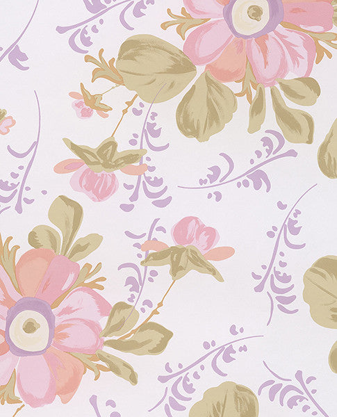 Lyse Ecru Painted Flowers Wallpaper