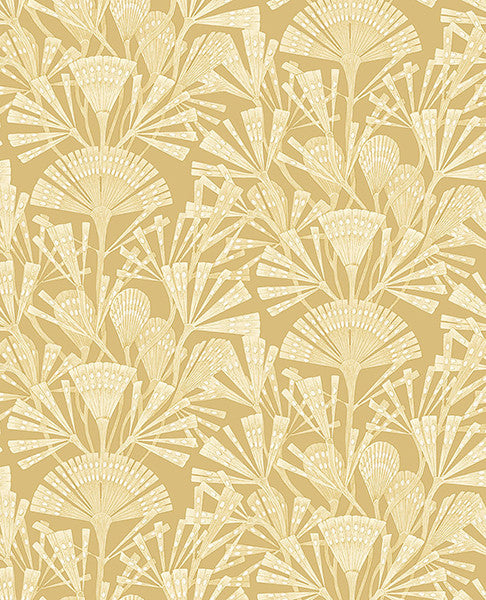 Zorah Mustard Botanical Wallpaper