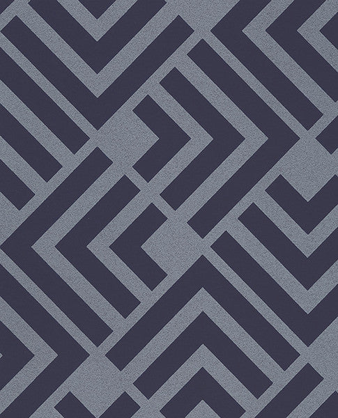 Zig Navy Geometric Wallpaper