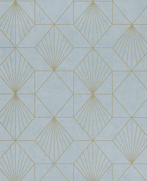 Halcyon Blue Geometric Wallpaper