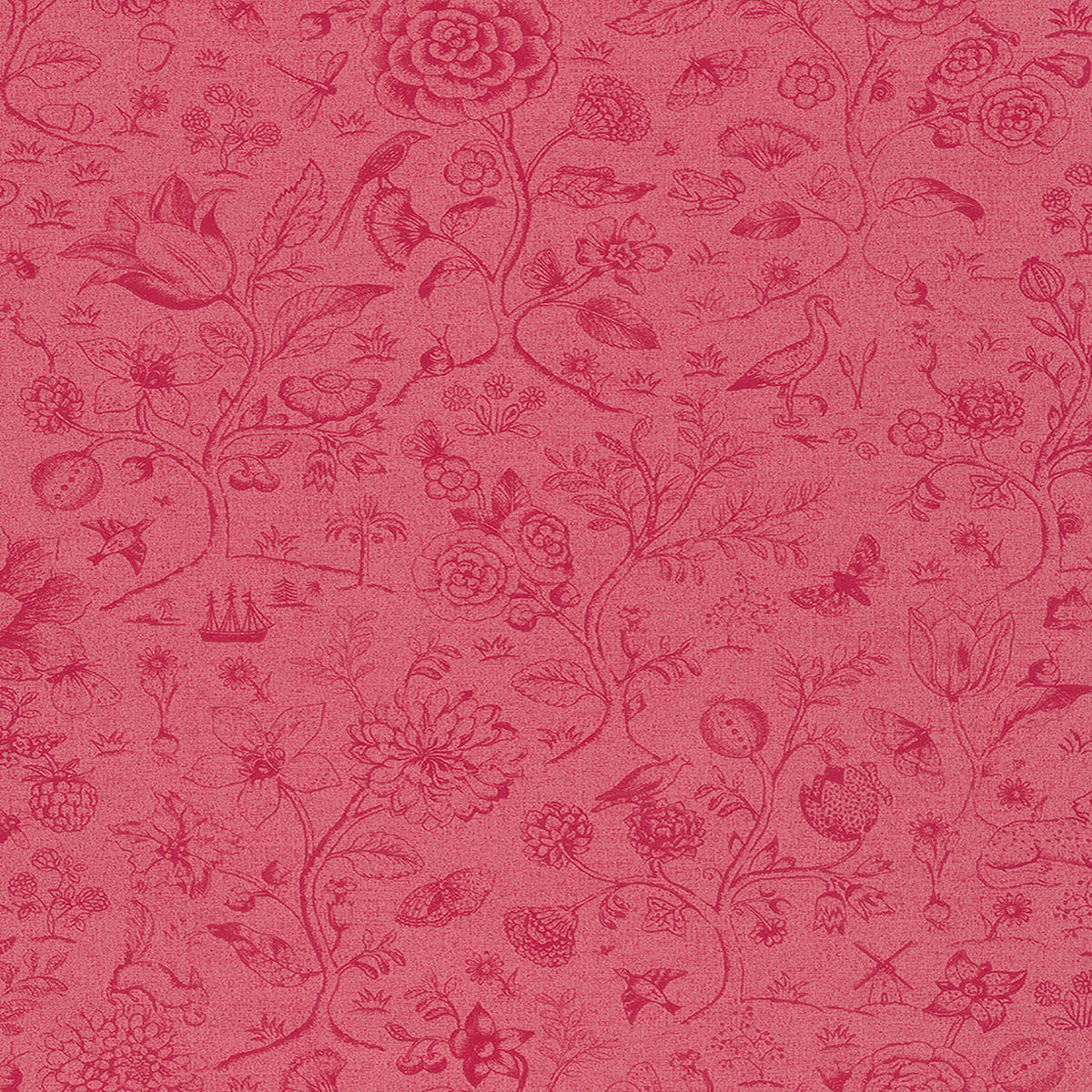 Ambroos Red Woodland Wallpaper
