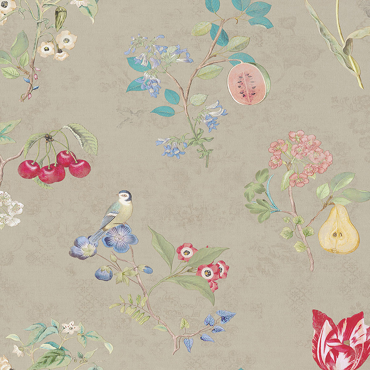 Danique Khaki Garden Wallpaper