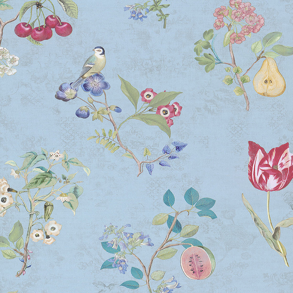 Danique Light Blue Garden Wallpaper