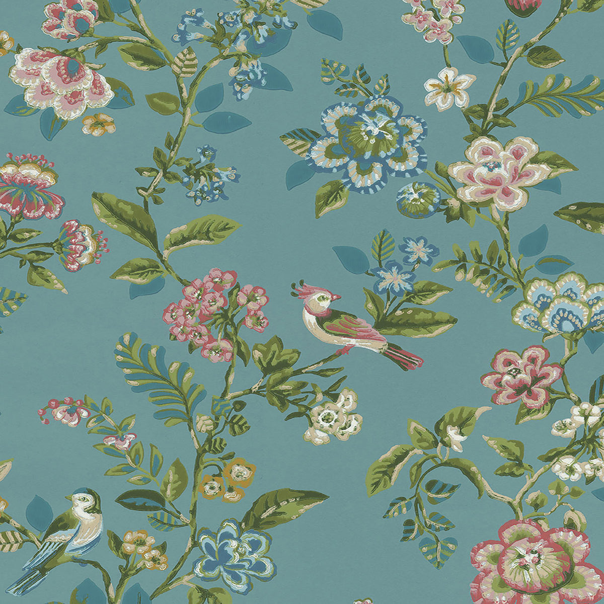 Willem Teal Painted Garden Wallpaper