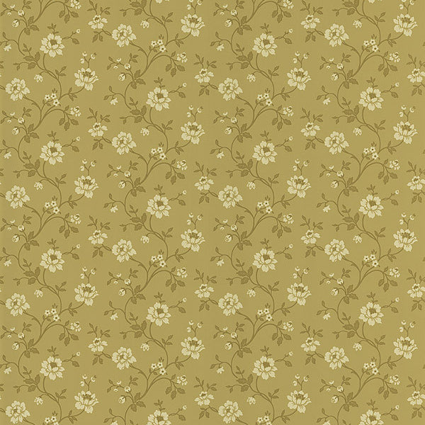 Cottage Floral Light Brown Stencil Floral Wallpaper