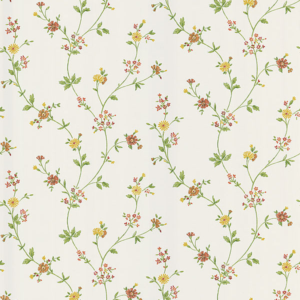 Daisy Yellow Floral Trail Wallpaper