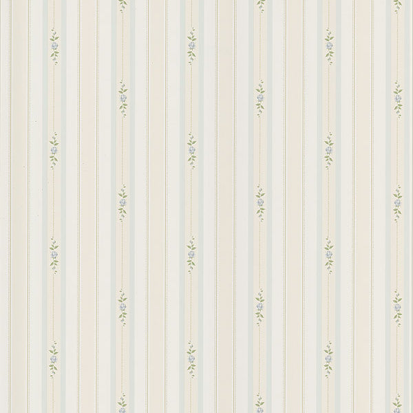 Rosebud Light Blue Floral Stripe Wallpaper