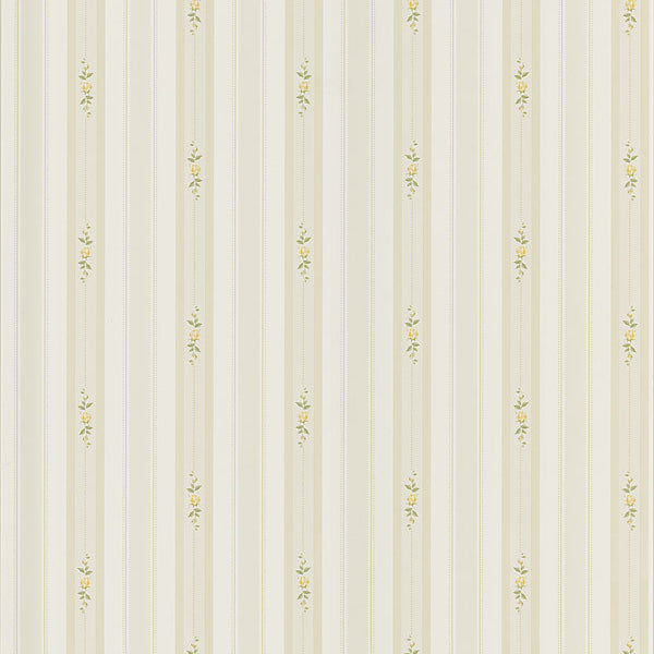 Rosebud Light Green Floral Stripe Wallpaper