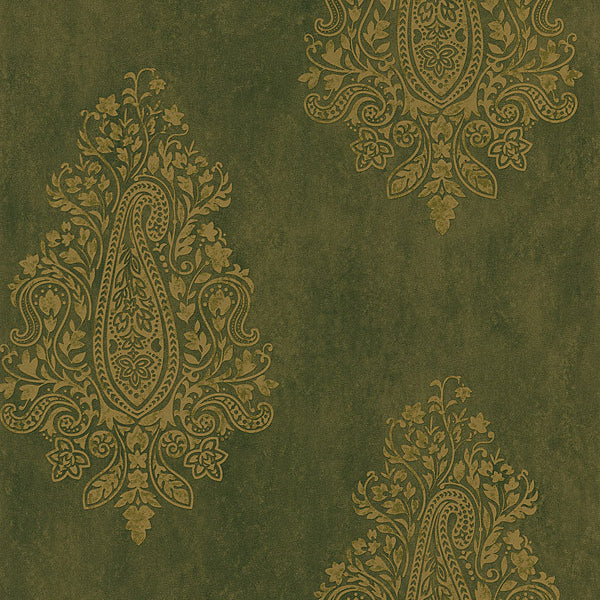 Mehndi Brown Paisley Wallpaper