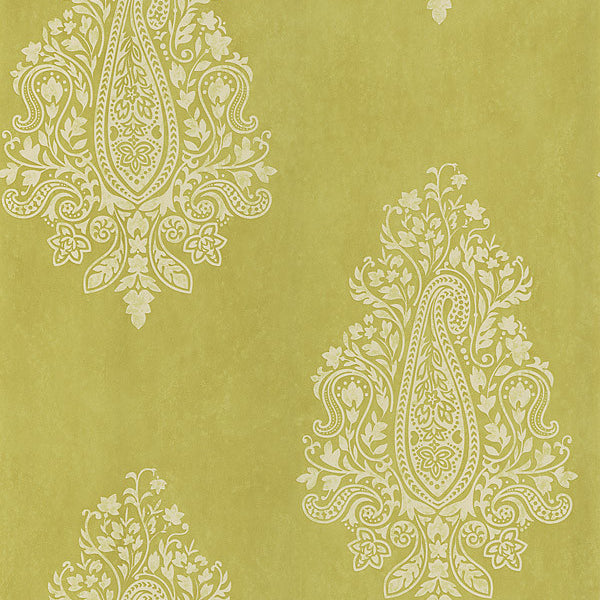 Mehndi Light Green Paisley Wallpaper