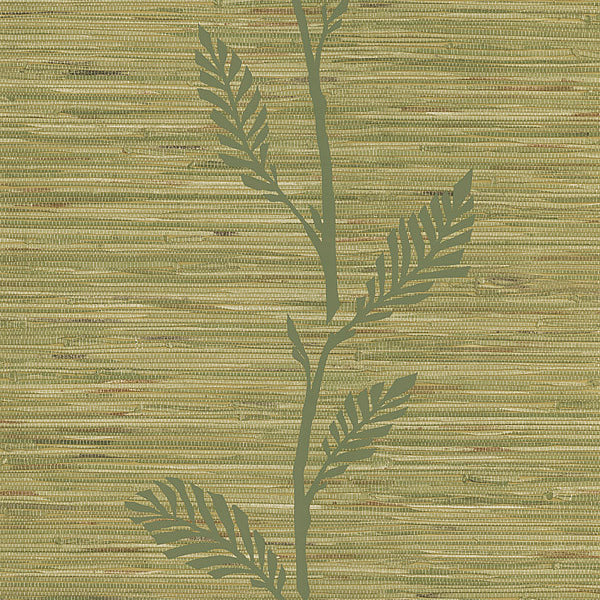 Nzimu Olive Grasscloth Leaf Wallpaper