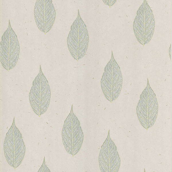 Madhya Light Grey Leaves Wallpaper