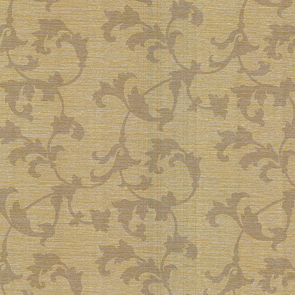 Rufina Brass Scroll Silhouette Wallpaper