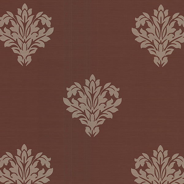 Astoria Dark Brown Leafy Damask Wallpaper