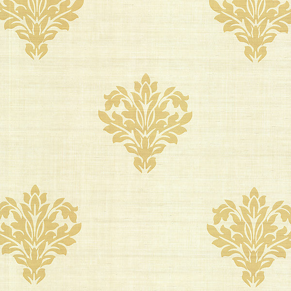 Astoria Beige Leafy Damask Wallpaper
