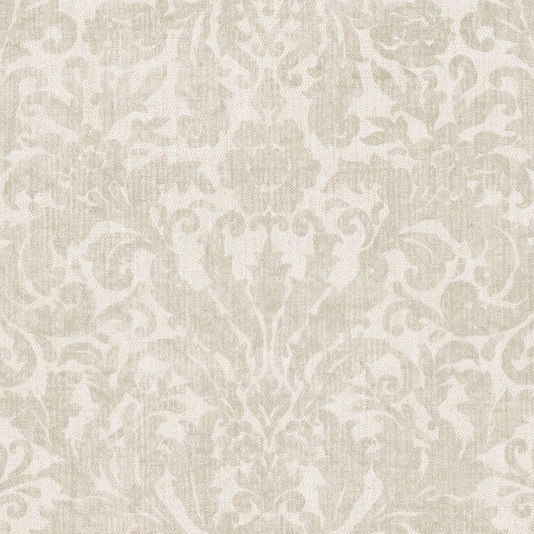 Twill Cream Damask Wallpaper