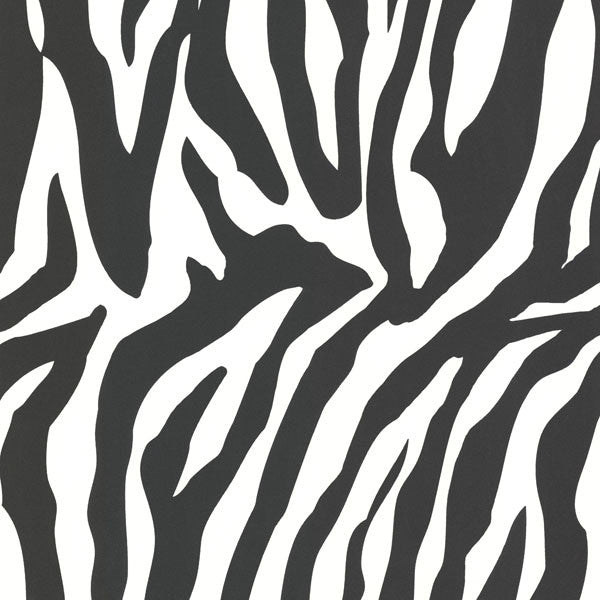 Zebbie White Zebra Print Wallpaper