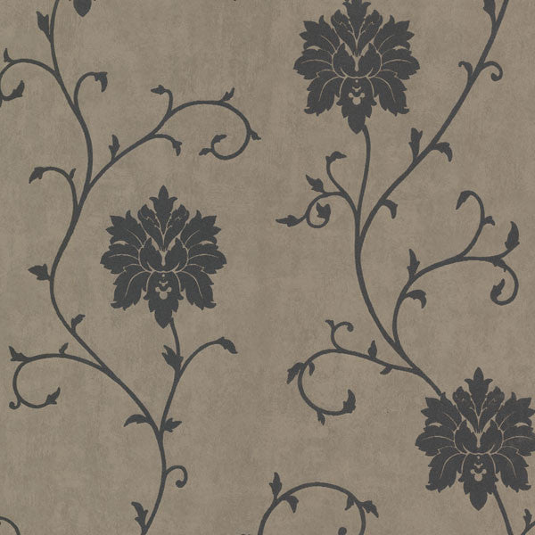 Dahli Pewter Floral Trail Wallpaper