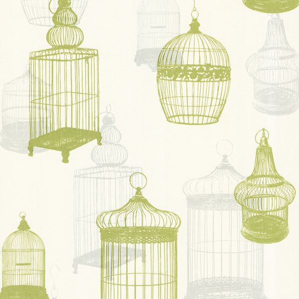 Avian Green Bird Cages Wallpaper