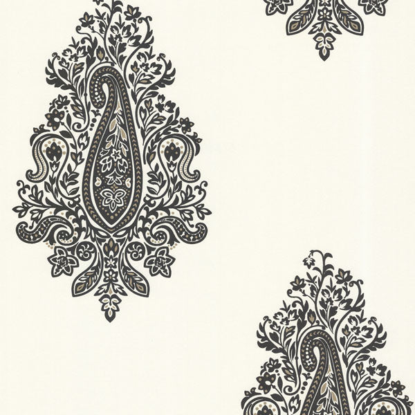 Dynasty Black Paisley Wallpaper