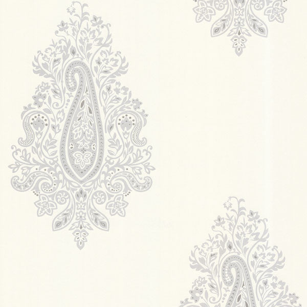 Dynasty Light Grey Paisley Wallpaper