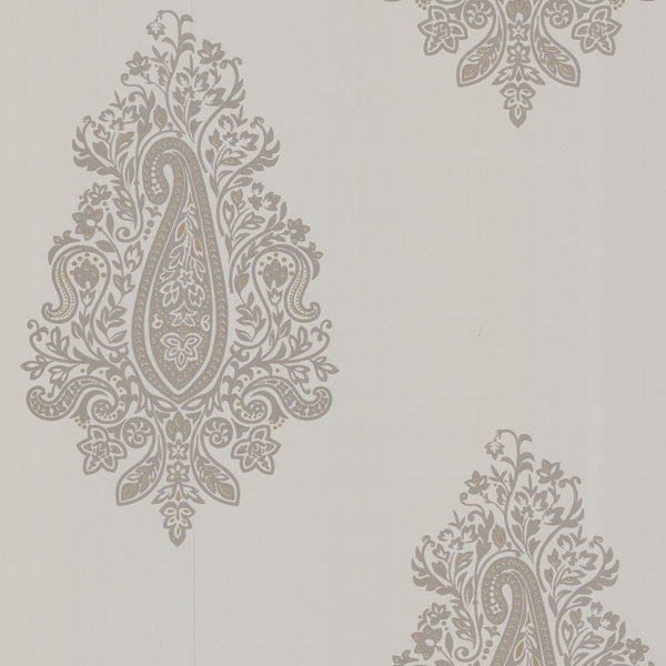 Dynasty Taupe Paisley Wallpaper