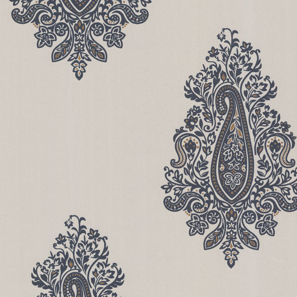 Dynasty Charcoal Paisley Wallpaper