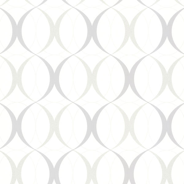Circulate White Retro Orb Wallpaper