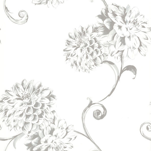 Deliah White Watercolor Dahlia Wallpaper