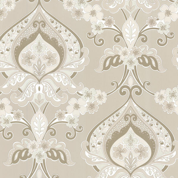Ashbury Beige Paisley Damask Wallpaper