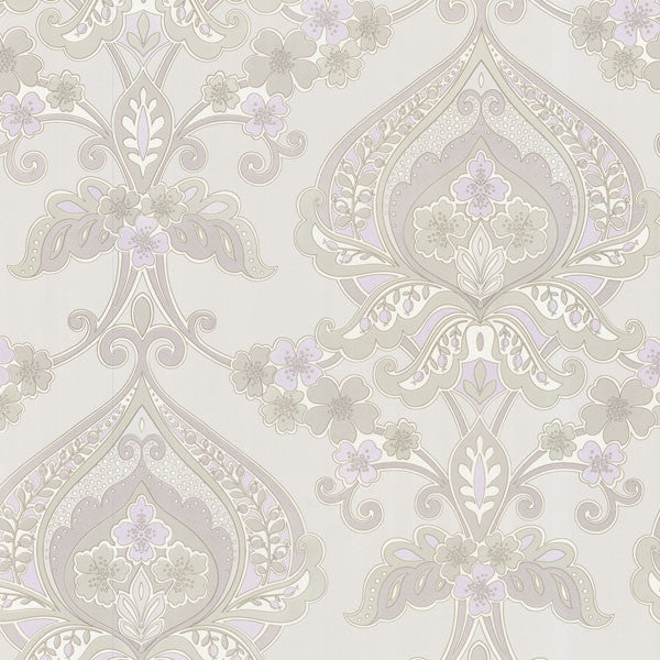 Ashbury Lavender Paisley Damask Wallpaper