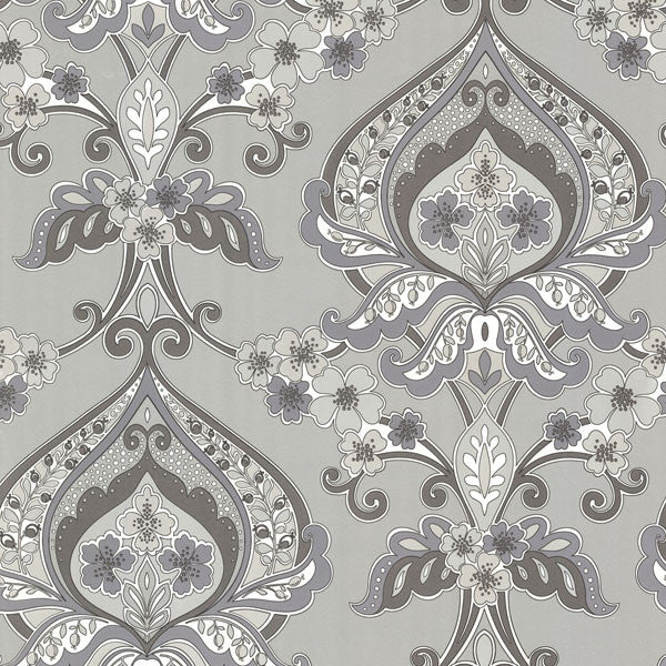 Ashbury Grey Paisley Damask Wallpaper