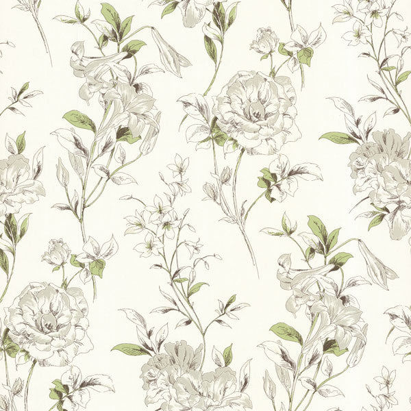 Jolie Green Floral Toss Wallpaper