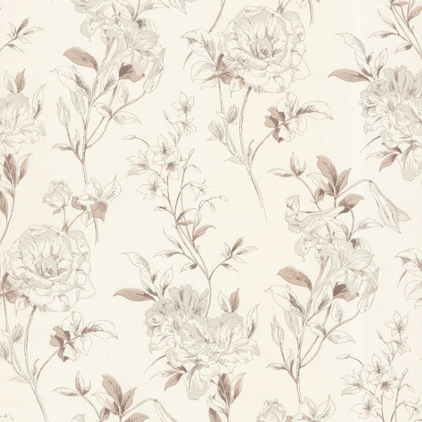 Jolie Beige Floral Toss Wallpaper