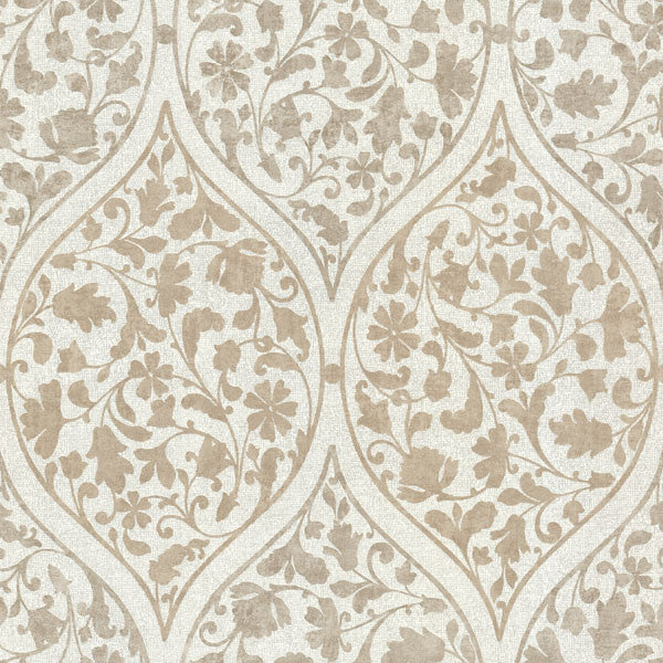 Adelaide Light Brown Ogee Floral Wallpaper