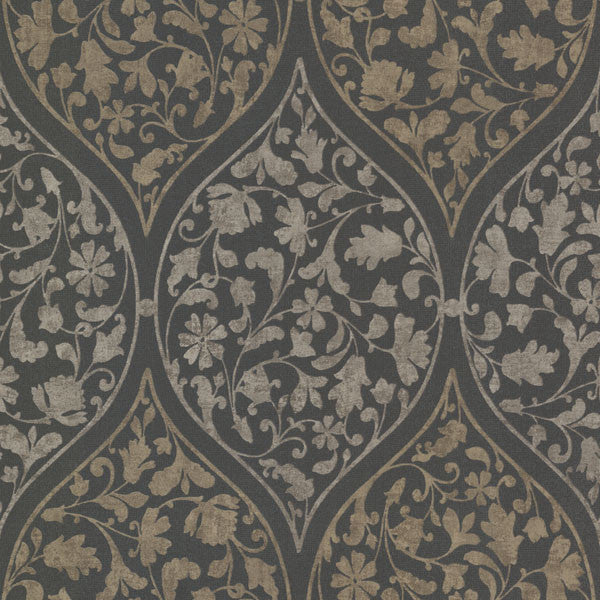 Adelaide Charcoal Ogee Floral Wallpaper