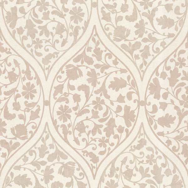 Adelaide Taupe Ogee Floral Wallpaper