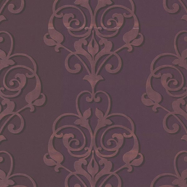 Aeneas Purple Modern Damask Wallpaper