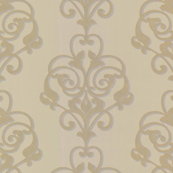Aeneas Gold Modern Damask Wallpaper